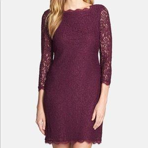 Adrianna Papell purple lace long sleeve dress